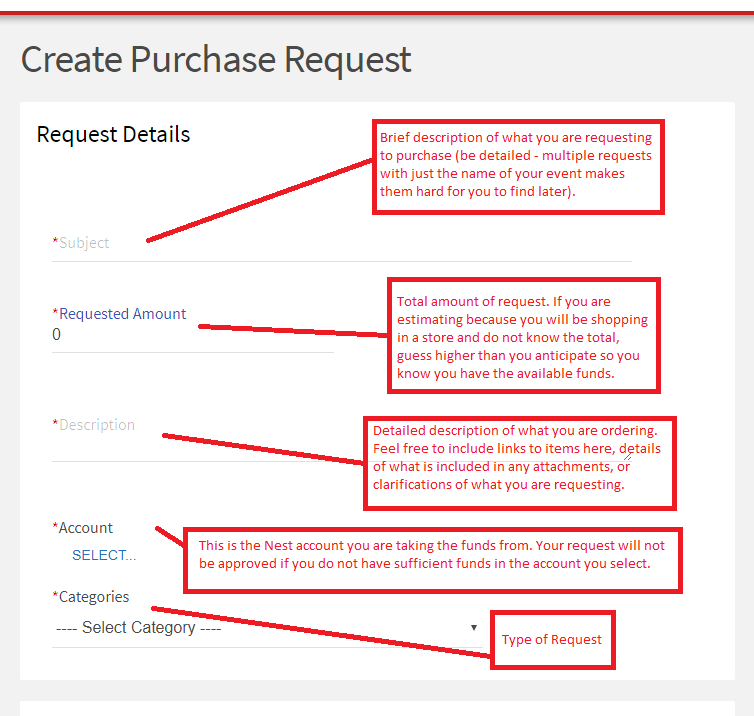 Complete a Purchase Request in The Nest instructions